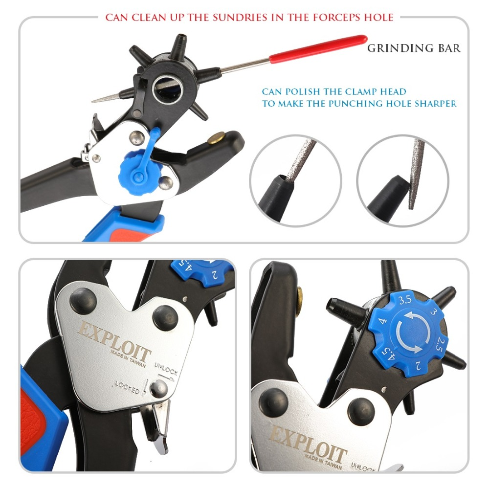 Купить с кэшбэком Multi functional stainless steel punch plier leather punch aperture combination pliers