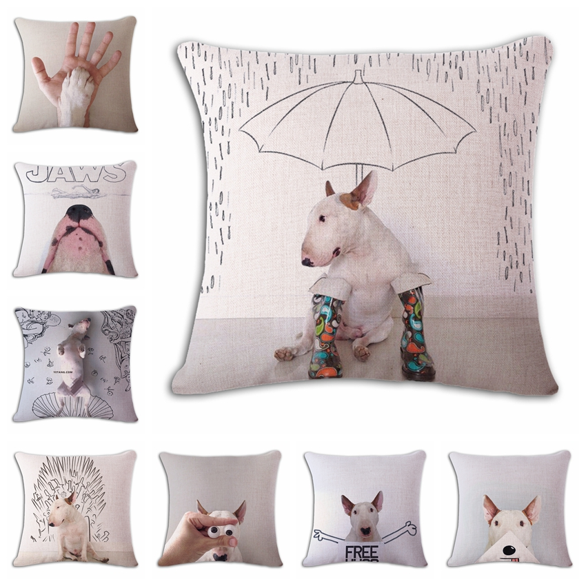 18 Square Bullterrier Cushion Covers Dog Pet Soft Material Pillow Cases For Kids Baby Girl Boy Bedroom Decor Drop Shipping