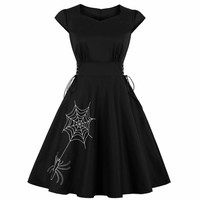 Halloween Spider Embroidery Dress Women Laugh Up Punk Party Clothes Bow Knot Even Black Gothic Dress Swings Vestido