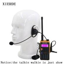 Baofeng auriculares tácticos con gancho para la oreja, 2 pines, en forma de D, micrófono PTT, Walkie Radio