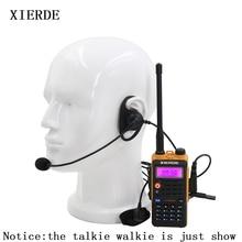 Headset tático em forma de d, fone de ouvido com gancho ptt, 2 pinos, para baofeng kenwood talkie, rádio