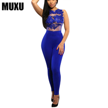 MUXU summer sexy women blue lace transparent mesh jumpsuit bodysuits jumpsuits europe and the united states jumpsuits rompers цена и фото