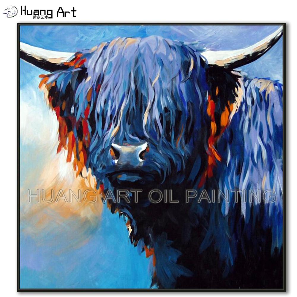 Date à la main moderne beau taureau tête peinture à l'huile sur toile peinture murale pour chambre décor vache Animal huile photo Art cadeau
