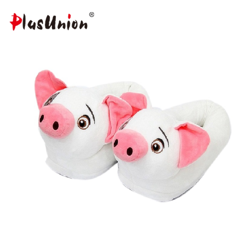 cute winter indoor plush pig slippers adult unisex cartoon home furry house animal home ladies women fluffy anime shoe cosplay indoor winter panda slippers flat furry home cartoon animal with fur shoes fuzzy house women emoji plush anime unisex cosplay