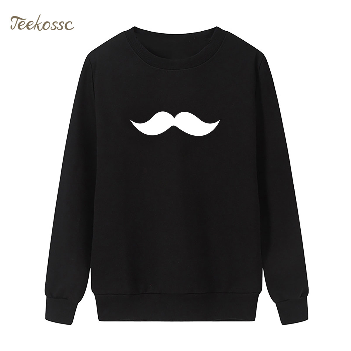 MOUSTACHE Sweatshirt Cute Hoodie 2018 New Brand Winter Autumn Women Lasdies Pullover Loose Fleece Funny Black White Streetwear