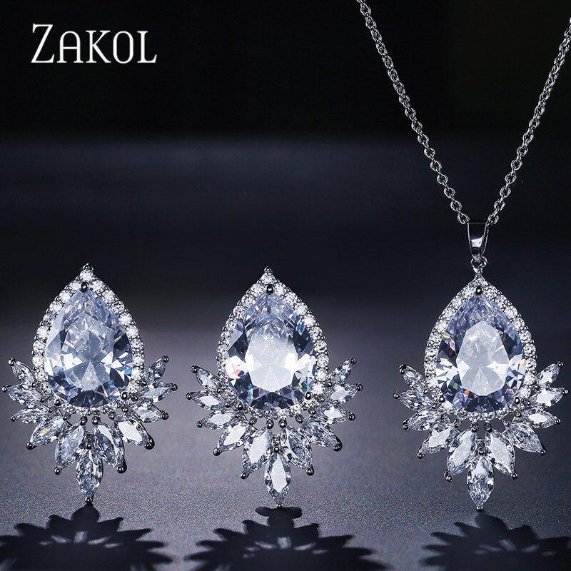 ZAKOL Romantic Zirconia Jewelry Set Heart Shape Stud Earrings & Pendent Necklace Jewelry For Women Girl Cut Gift FSSP362