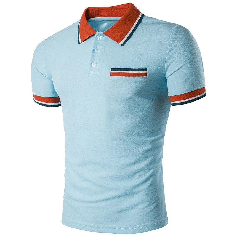 Nova Camisa Polo Dos Homens Homem Business   Casual Algodão Masculina malha  Camisas de Manga Curta Patchwork Respirável Polos Tee 10 Cores B30 bae9c9971598f