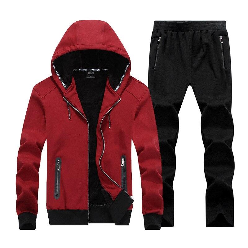 Хёрд 2018 модные зимние Для мужчин спортивные костюмы куртка с капюшоном + штаны, толстые тренировочный костюм комплект из двух предметов спо...