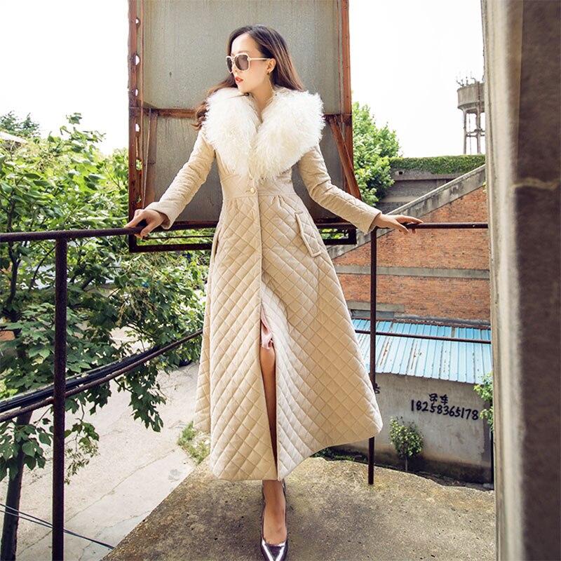 Manteaux noir Et Col Femmes Plus De Grande Rembourré Coton Hiver Longue Femme Parkas Beige Nouvelle 1903 Vestes Mince Mode Réel Fourrure 2018 xnSw17qP81