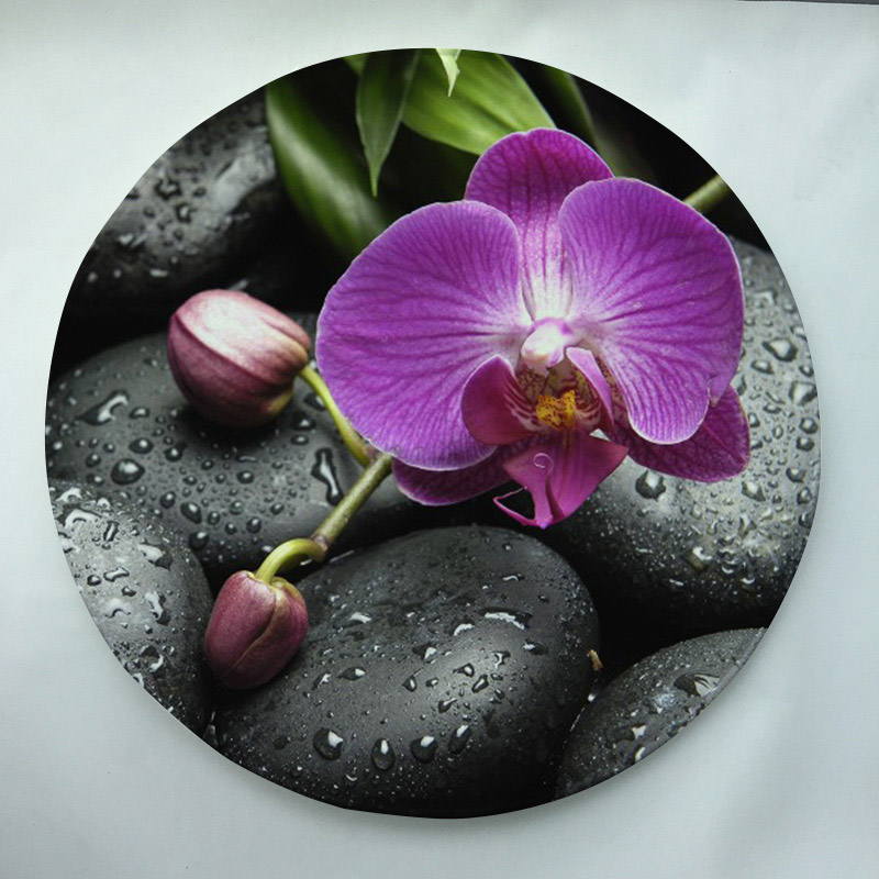 Orkidéer serie Skriv ut Custom Round Dörrmatta Slipfritt Rug Pad Carpet Barnrum Heminredning Golvmat Vattenabsorptionsmatta