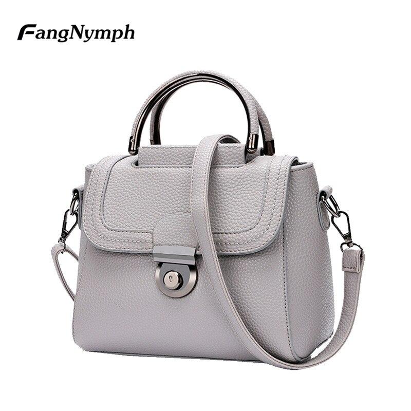 FangNymph S/L Women Lock Messenger Bag Girls PU Leather Solid Shoulder Bag Lady Vintage Handbags Femlae Retro Simple Pouch