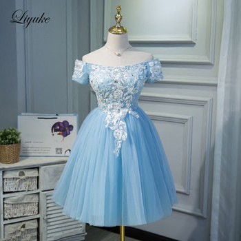 Liyuke Sky Blue Cocktail Dress Elegant Strapless Satin With Tulle Fabrics Knee-Length Off The Shoulder For Cocktail Party