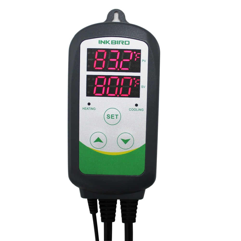 цена на Inkbird ITC-308S US Plug 110V Pre-wired Thermostat Dual Stage Temperature Controller with 12'' Replaceable Stainless Long Probe