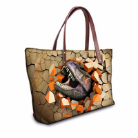 Customized High Quality Women Handbags Cool Dinosaur Printing Top Handle Bags Tote Big Travel Necessary Woman Shoulder Purse