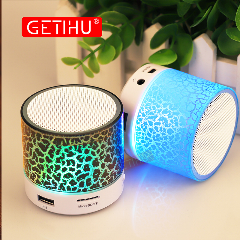 GETIHU Wireless Portable Bluetooth Speaker Mini LED Music Audio TF USB FM Stereo Sound Speaker For Phone Xiaomi Computer column t07 3w mini portable retractable stereo speaker w tf sapphire blue golden 16g max