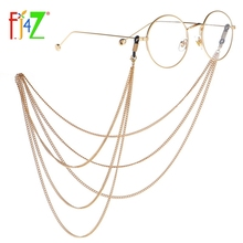 F.J4Z Punk Women Glasses Chains Fashion Multilayered Gold Color Chains Sunglasses Lanyards for Women Eyewear Anti-loss Straps punk style multilayered alloy chains necklace for women