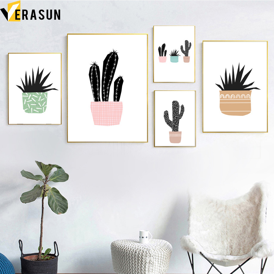 Cactus Potted Flower Plant Nordic Posters And Prints Wall Art Canvas Painting Pop Art Wall Pictures For Living Room Decor Quadro in Painting Calligraphy from Home Garden