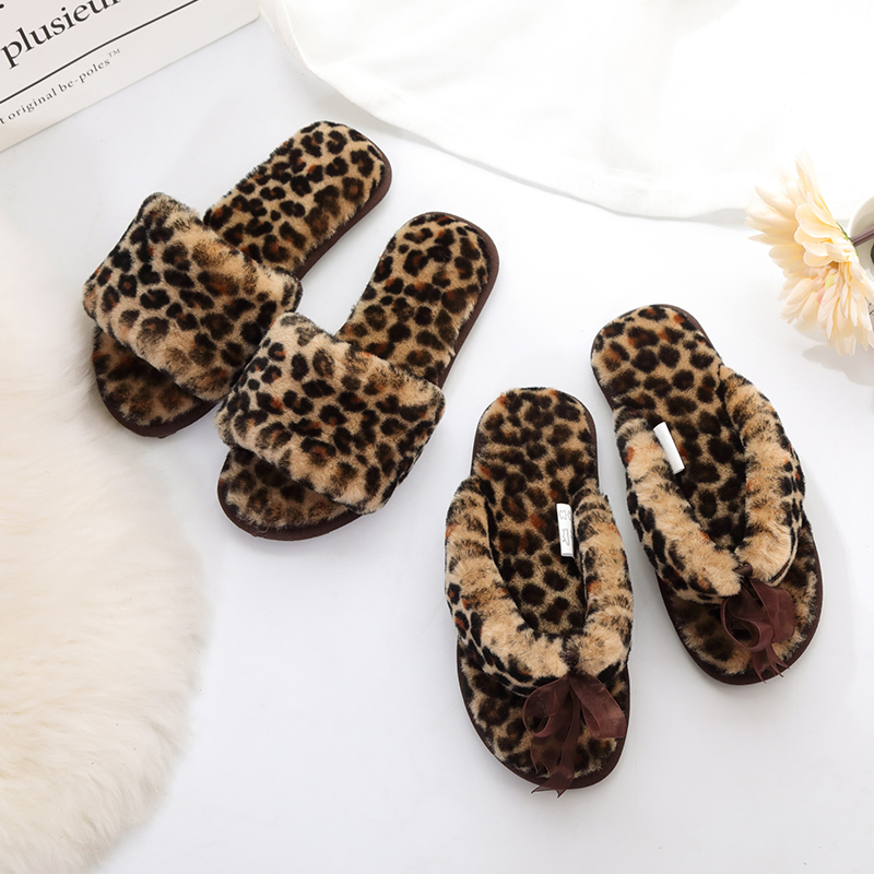 Millffy new winter fur flip flops Leopard female cotton wool word drag slippers non-slip shoes flip a word crab cab