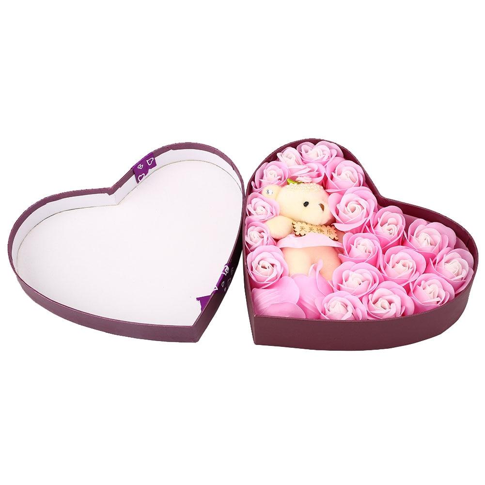 Романтический мыло в Форме Розы элегантный с маленьким милый игрушечный медведь в форме сердца коробка отлично подходит для День святого Валентина подарки свадебный подарок - Цвет: Pink