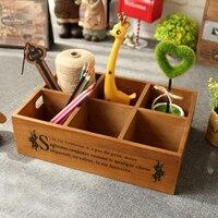 1pc Vintage Zakka Large 6 grids Wooden Planter Storage Box Pots Tray for Succulent Plants Flowerpot Desktop Home Decoration
