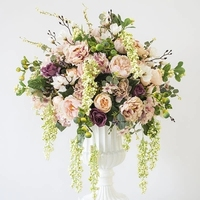 Кольцо 50 см диаметр искусственного шелка шампанское розы с цветы пиона Таблица центральная часть свадебный цветок docoration 2 шт./лот