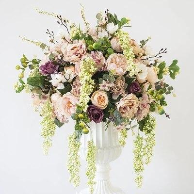 Hotsale 50 cm diamètre soie artificielle champagne roses avec pivoine fleurs table pièce centrale mariage fleur décoration 2 pcs/lot