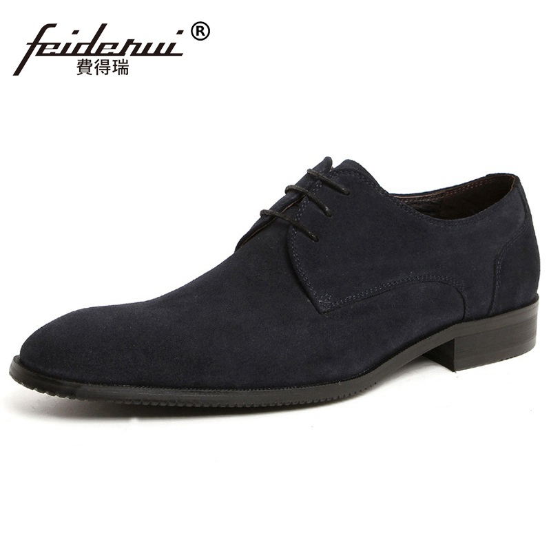 Formal Man Suede Round Toe Derby Dress Shoes Male Genuine Leather Business Oxfords Luxury Brand Men's Bridal Footwear JD68 ruimosi new arrival formal man bridal dress flats shoes genuine leather male oxfords brand round toe derby men s footwear vk94