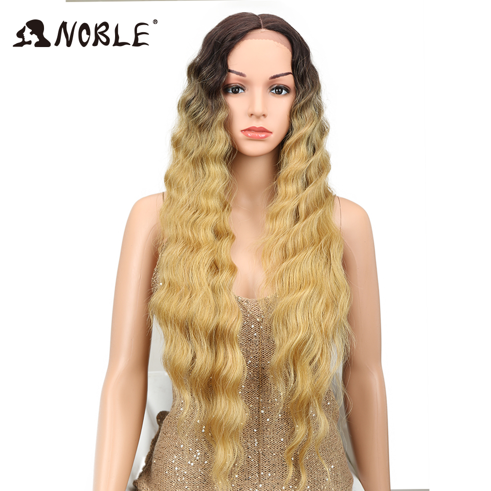 Noble Long Blonde Ombre Wig 30 Deep Wave Synthetic Hair Middle Part Lace Front Wigs African American Wigs For Black White Women