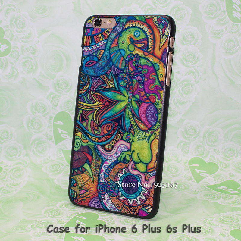 Psychedelic Trippy Pattern hard black Case Cover for iPhone 4 4s 5 5s 5c 6 6s 6 Plus 6s Plus
