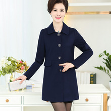Free shipping 2016 elderly ladies fashion color coat mother wear autumn long fashion outside the ride overcoat for promotion XL