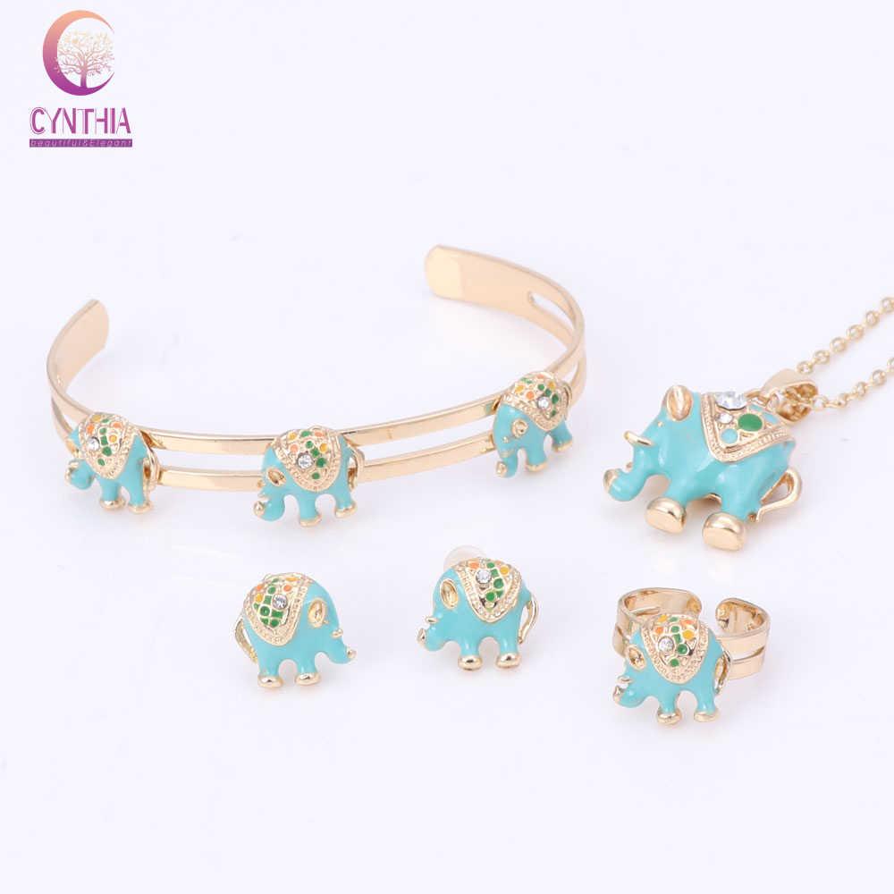 Gold Color Enamel Crystal Elephant Necklace Bangle Bracelet Ring Set For Children Kids Costume Jewelry Sets