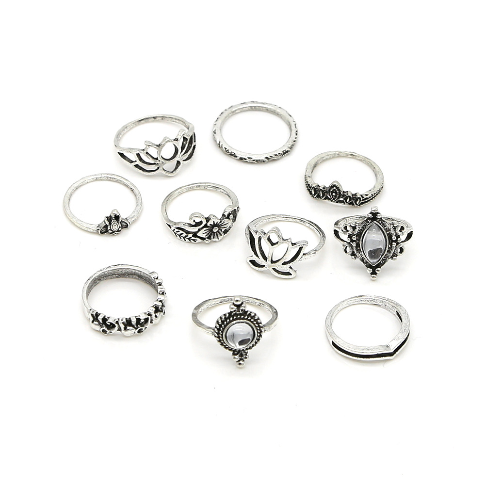 10 pcs/set Midi Rings Set Bohemia Flowers Elephant anillos mujer Boho Jewelry for Women anillos de plata 925 de ley