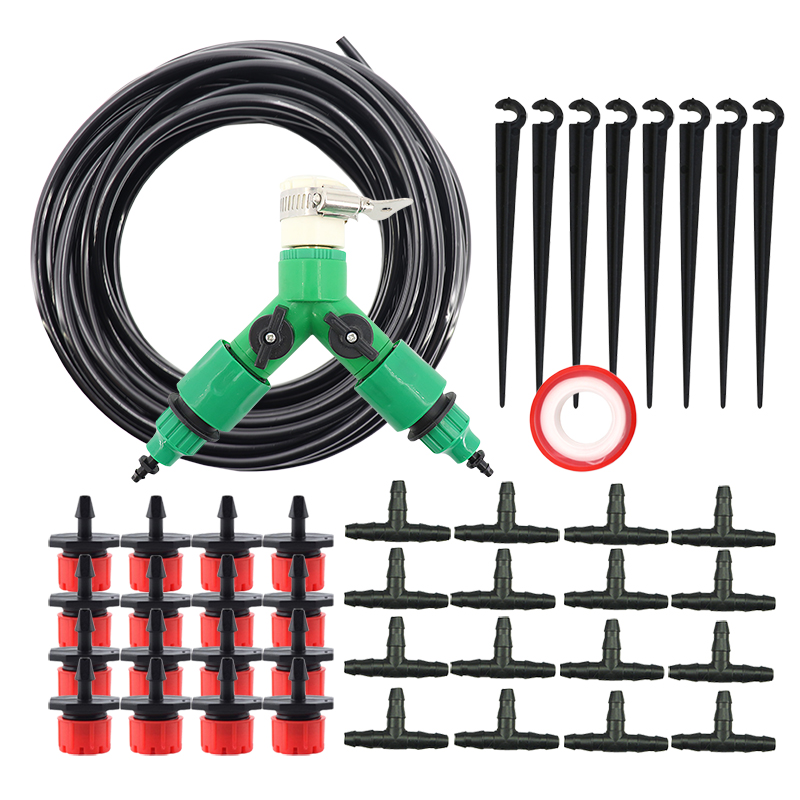 Garden 30 Pots Of Watering Plants Kits Micro Spray Series Drip Irrigation System 4/7mm Hose Nozzle Adjustable Red Drippers