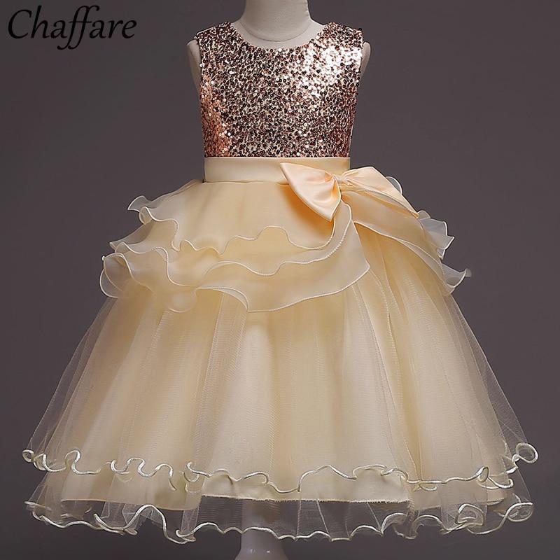 Chaffare Girls Dress Multi-layer Baby Party Dresses Big Bow Princess Kids Wedding Frocks Children Prom Teenage Clothing for Girl