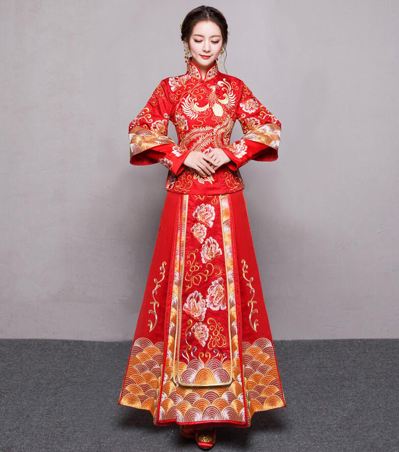vintage Chinese style formal dress royal phoenix wedding cheongsam costume red bride traditional Tang suit Embroidery