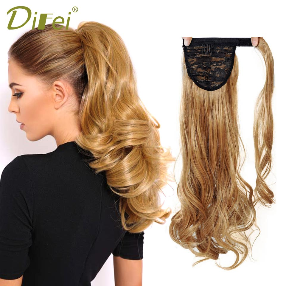 Difei Long Wavy Real Natural Ponytail Clip In Pony Tail Hair
