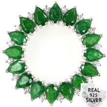 Guaranteed Real 925 Solid Sterling Silver 5.5g Luxury Green Emerald, CZ SheType Pendant 31x31mm