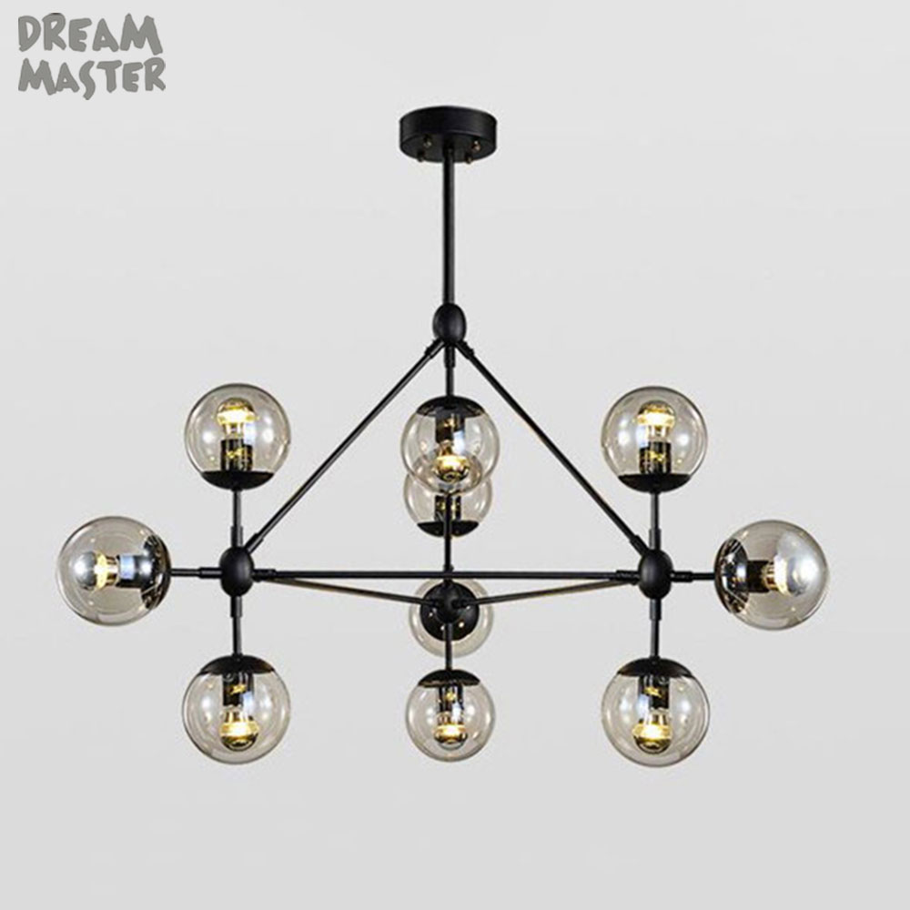2015 Magic Beans DNA Lustres Wrought Iron Industrial Cafe Project Lamps Nordic Art Deco Glass Ball