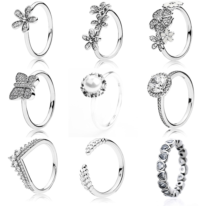 9 Style Classic Silver Rings With Flower Pearl Butterfly