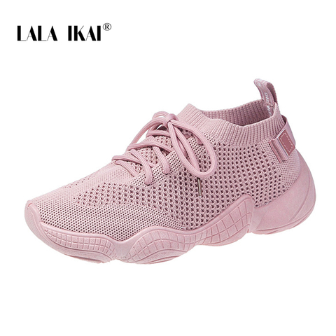 LALA IKAI Sneakers Women Spring Breathable Mesh Shoes Casual Lace Up Vulcanize Shoes Female Soft Pink Tenis Shoes 014A3796-4 Islamabad