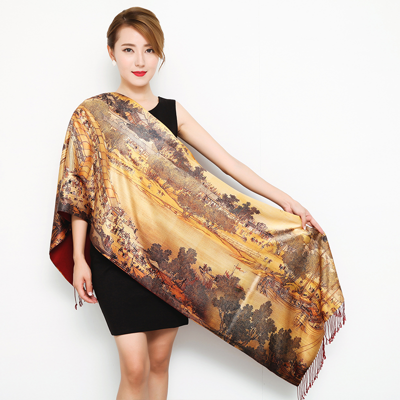 classic Chinese Style silk   Scarf   Women Warm Ladies Ponchos Capes Fashion cashmere   Scarves   Double-deck   Wrap   shawl female pashmina