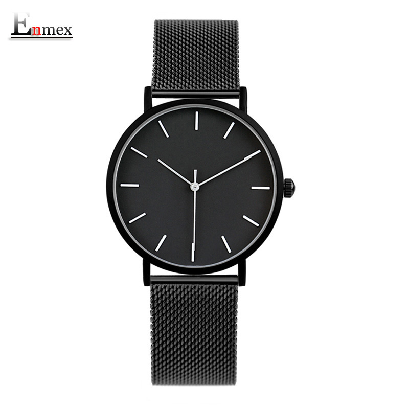 2017 Enmex cool style lady wristwatch Brief vogue simple stylish Black and white face stainless steel quartz clock fashion watch relojes full stainless steel men s sprot watch black and white face vx42 movement