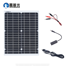 цены Xinpuguang Solar Panel 12V 20W USB 5V Monocrystalline Solpanel with Car Charger for Outdoor Camping Emergency Light Waterproof