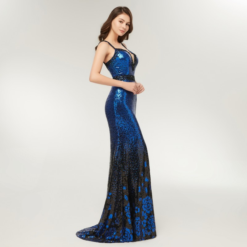 6a9f8796ce5 Aliexpress.com   Buy Elegant Women Long Mermaid Prom Dresses 2019 LORIE  Sparkly Royal Blue Sequin Evening Gown Spaghetti Strap Robe Black Beading  Top from ...