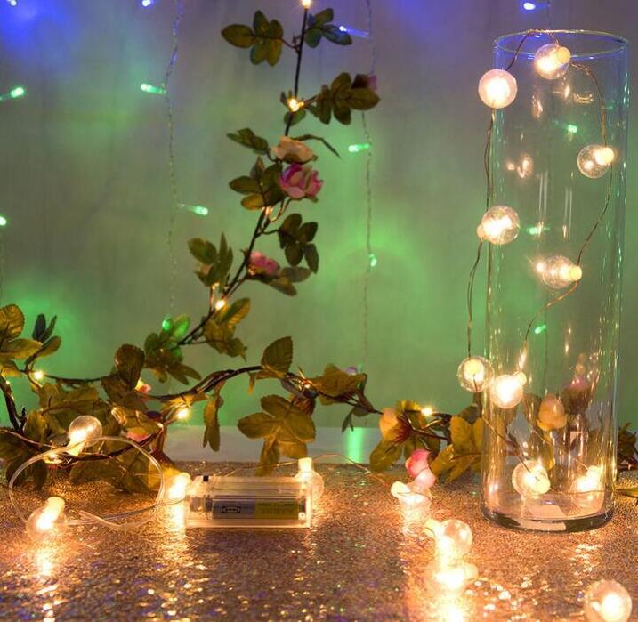 Lampe à LED chaîne fil de cuivre lampe rotin fleur lampe de noël lampe décorative chaîne 2 m 20 lampe batterie couleur lampe