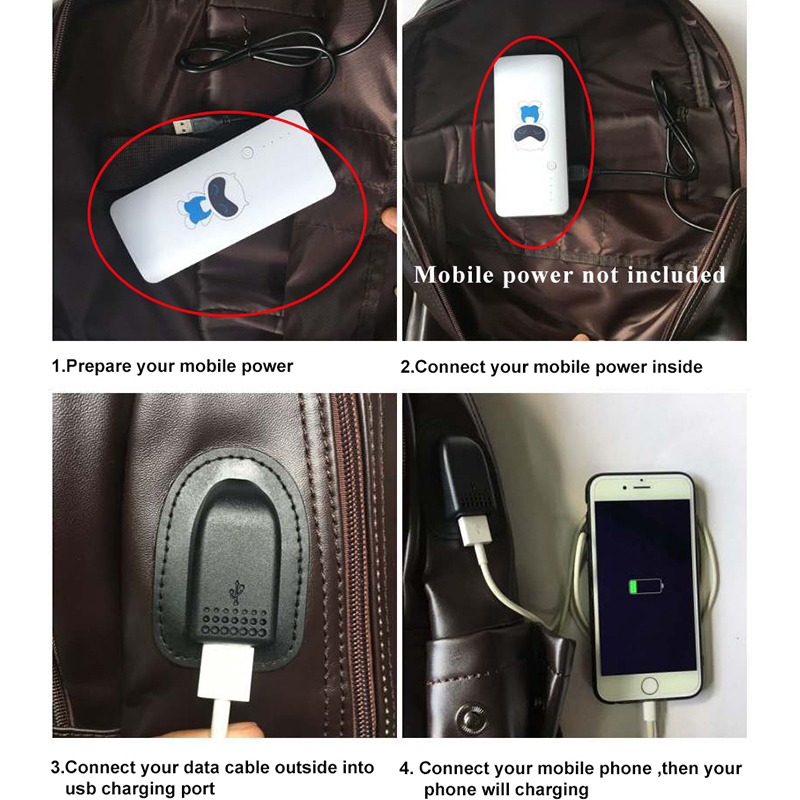 bolsa de escola mochilas homens Leather Backpack : Anti Theft Backpack
