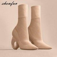 Malha De Lã das mulheres Slip-on Ankle Boots Outono Marca Designer Elegante Senhoras Estranho Círculo Meia Calcanhar Botas Curtas sapatos Mulheres