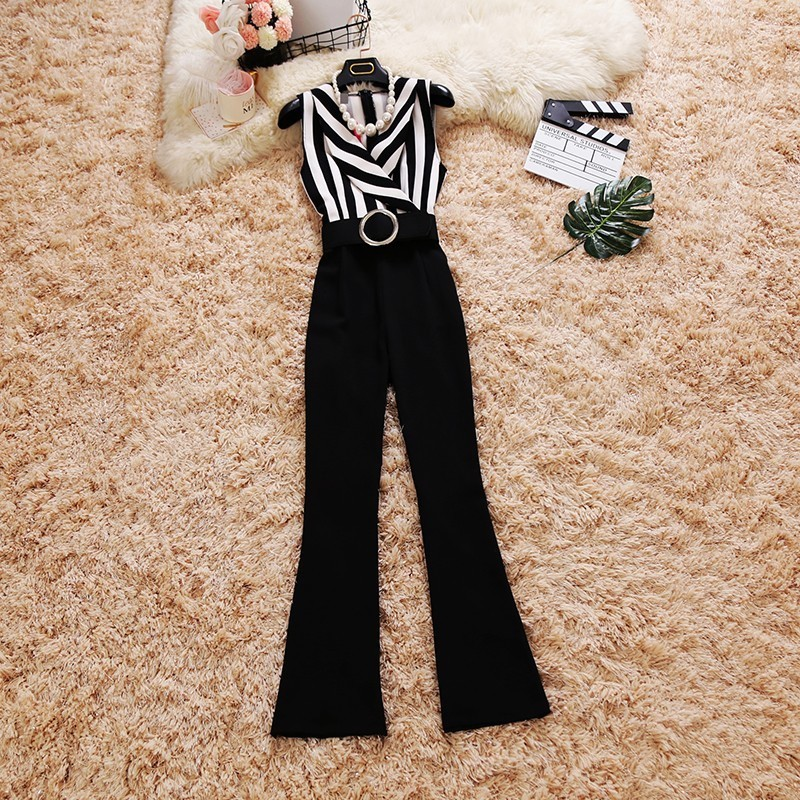 Elegant Striped Sexy Spaghetti Strap Rompers Womens Jumpsuit Sleeveless Office Lady Wide legs Jumpsuits Sexy Overalls