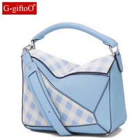 2018 women's bag winter new fashion geometric bag leather big bag shoulder diagonal zipper handbag messenger bag