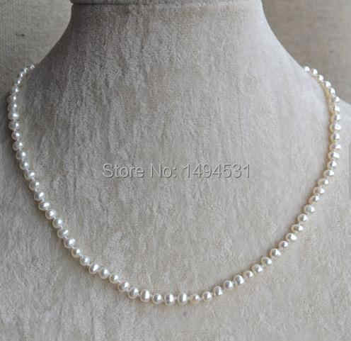 Wholesale Pearl Jewelry - 16 Inches 4-5mm White Color Small Size Genuine Freshwater Pearl Necklace - Fashion Lady's Jewelry.